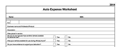 auto expense worksheet - Text